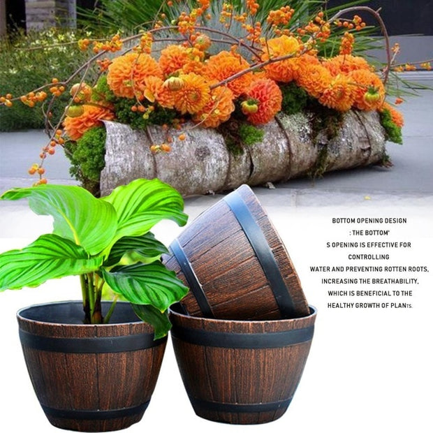 Flower Planter Planting Barrel Imitation Wood For Outdoor Garden