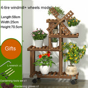 Vintage Wood Plant Stand Garden Storage Rack Decor