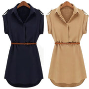 Women Casual Summer Dress Loose Short Sleeve Dress With Belt Turn Down Collar