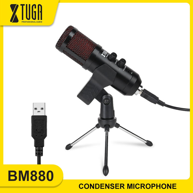 Condenser Microphone USB Podcast Microphone Built-In Monitor
