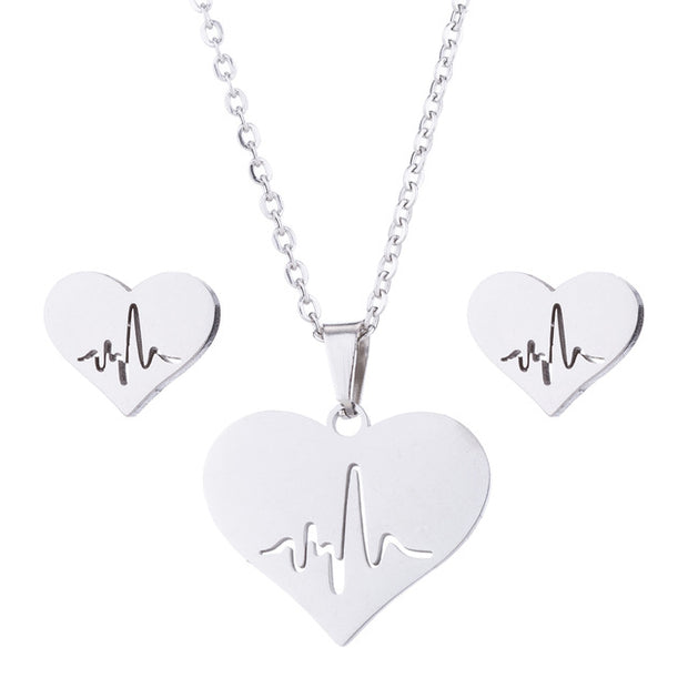 Minimalist Exquisite Heart with Heartbeat Earrings Necklaces