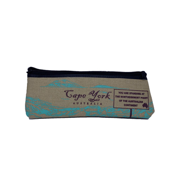 Cape York 2 Colour Hessian Large Pencil Case (Blue)