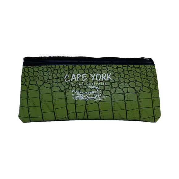 Croc Skin Small Pencil Case (Green)