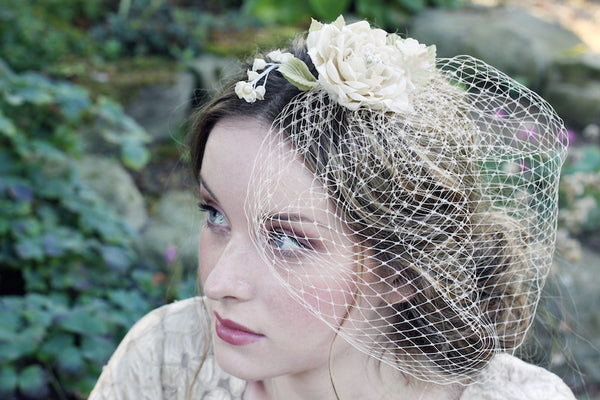 Rose with Lily of the Valley Birdcage Veil