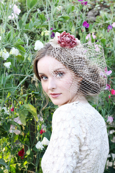 Cabbage Rose Birdcage Veil