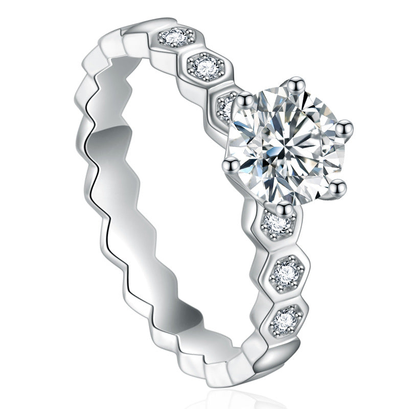 Delicate Honeycomb CVD Diamond Ring