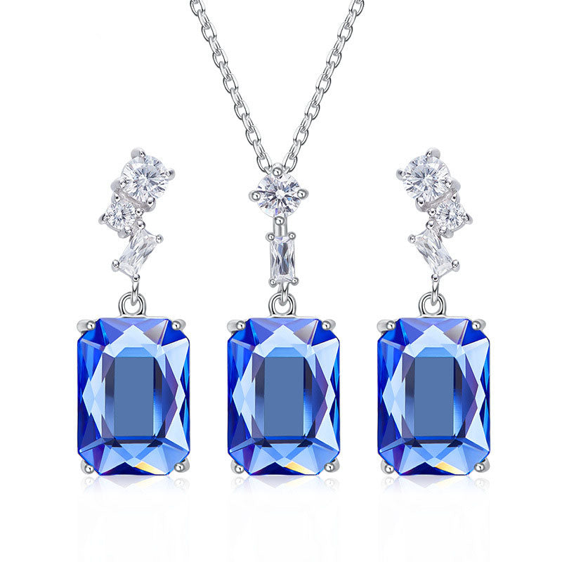 Swarovski Crystal Element Colorful Earrings and Necklace Set