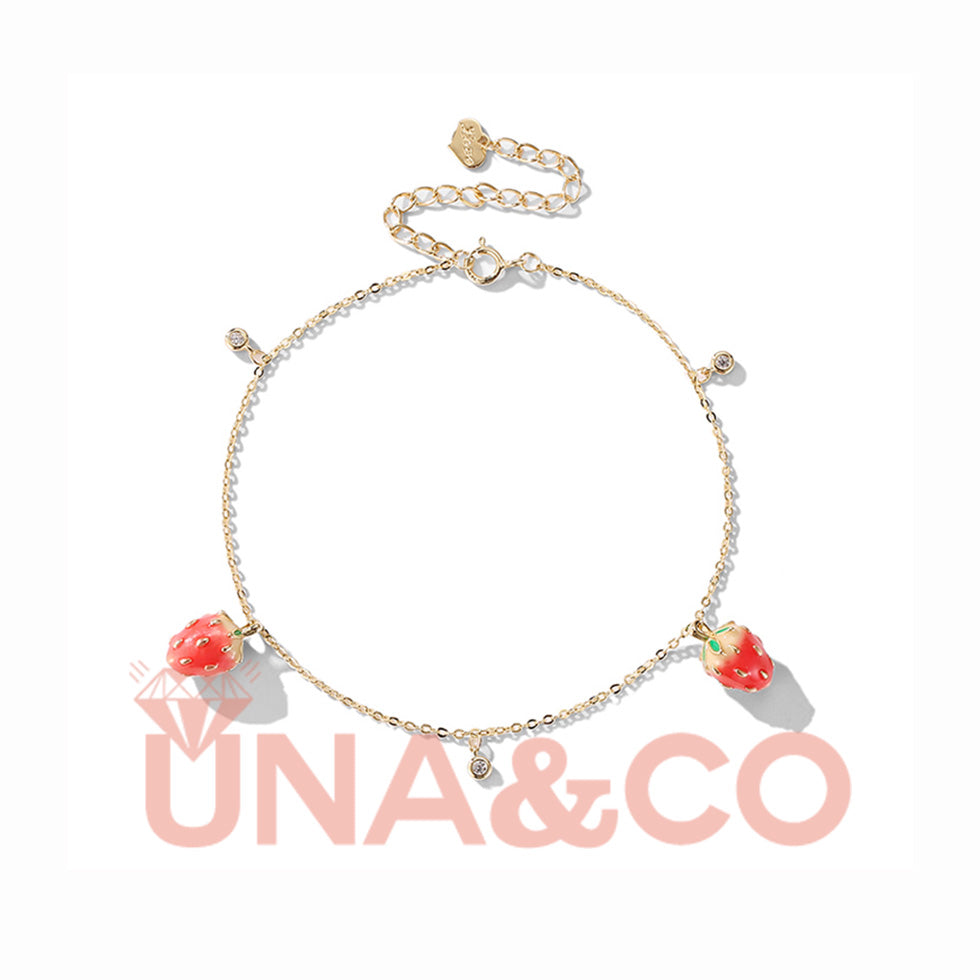 Cute and Sweet Strawberries Anklet Perfect for Summer