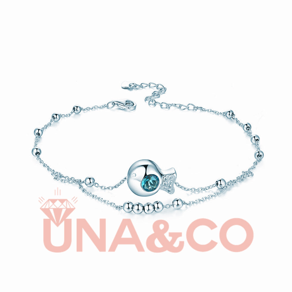 Cute Little Ugly Fish Austrian Crystal Anklets