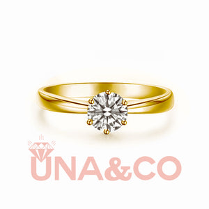 18K Yellow Gold Six Setting Moissanite Ring