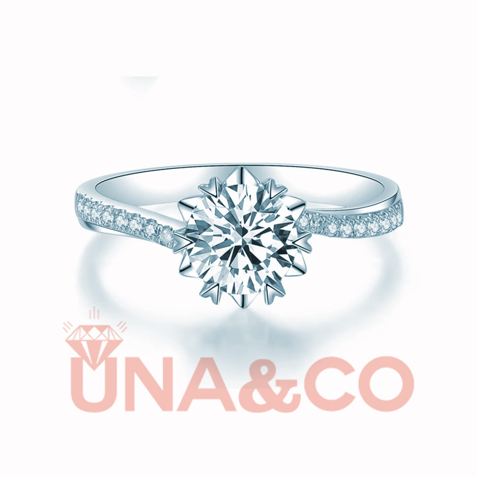 Twisting Ring Arms Snowflake CVD Diamond Ring