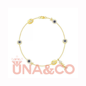 Golden Fishbone CVD Diamond-studded Anklet