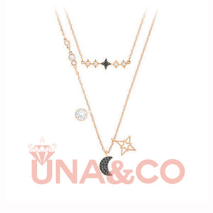 Double Layers Star and Moon Necklace