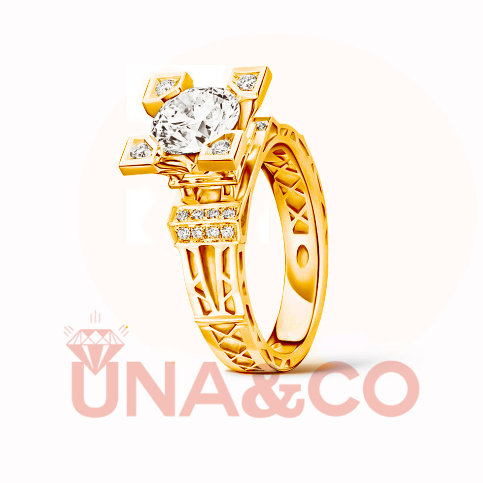 18K Yellow Gold Romantic Eiffel Tower Moissanite Ring
