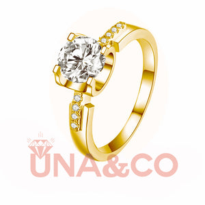 18K Yellow Gold Ox Head Moissanite Ring