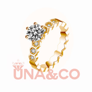 18K Yellow Gold Six Prong Delicate Honeycomb Moissanite Ring