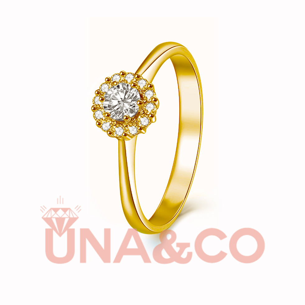 18K Yellow Gold Flower Moissanite Ring