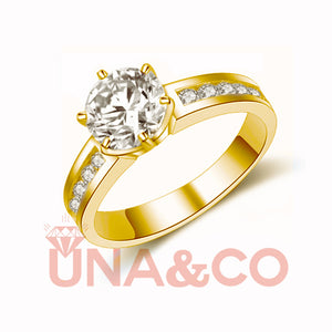 18K Yellow Gold Special Design Six Prong Moissanite Ring