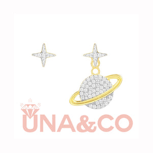 Diamond Studded Planet Asymmetric Earrings