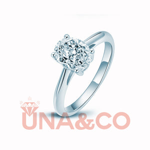 Classic 2CT Four Prong Oval UNA&CO CVD Diamond Ring