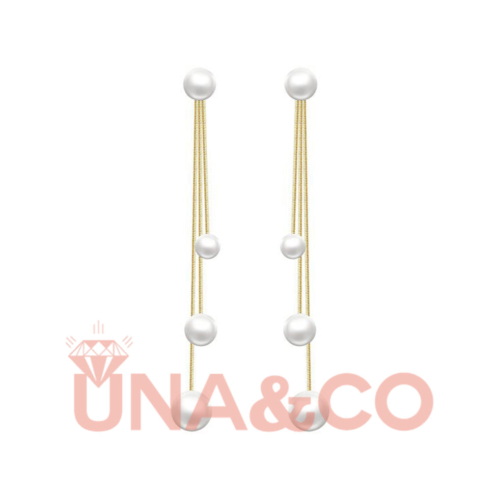 Unique Three Tassels Pearl Earrings