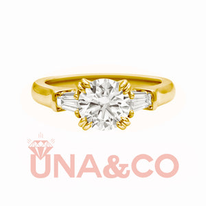 18K Yellow Gold Light Luxury Queen 2CT Moissanite Ring