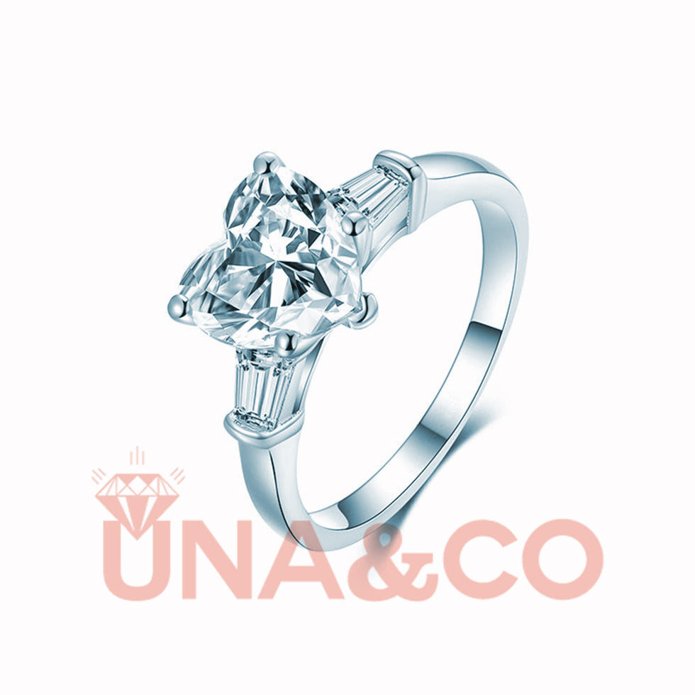 2CT Heart Shape Romantic CVD Diamond Ring