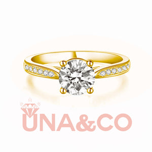 18K Yellow Gold Four Prong Luxury Moissanite Ring