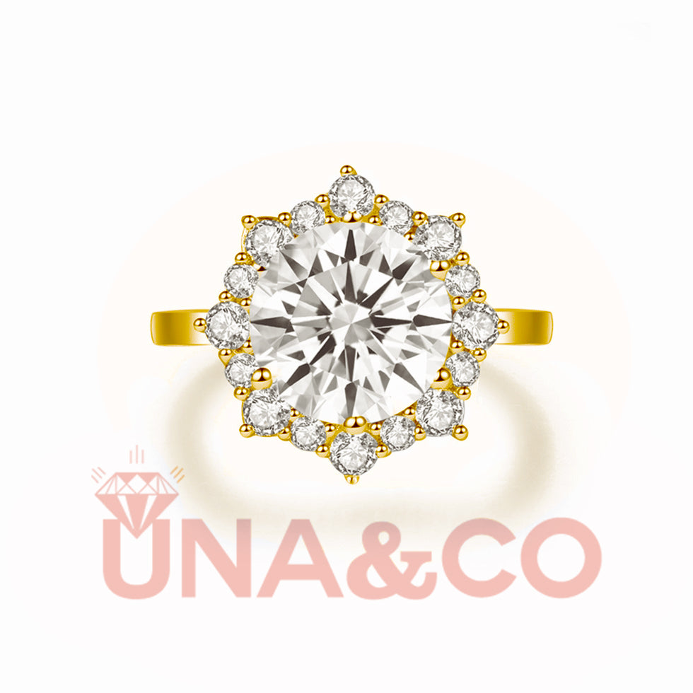 18K Yellow Gold Fashionable Flower Shape Moissanite Ring(3CT)