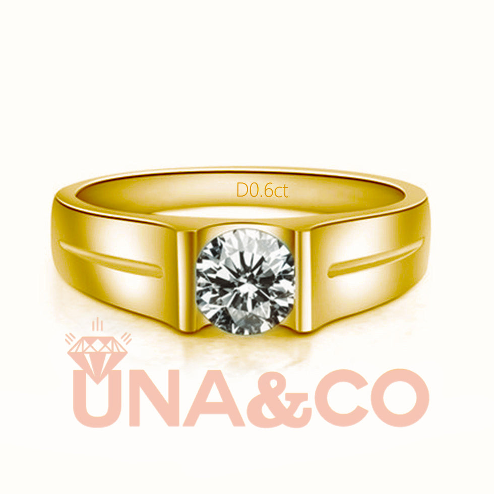 18K Yellow Gold Simple Engagement Moissanite Ring for men