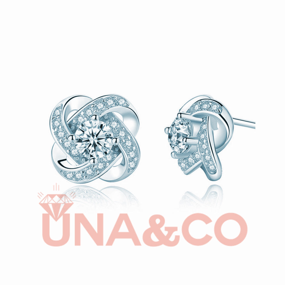 Romantic Four-leaf Clover Earrings Set with CVD Diamond