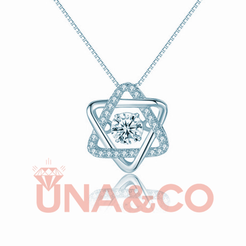 Romantic Hexagram Jumping CVD diamond Necklace