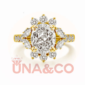 18K Yellow Gold Luxury Flower Oval Created Moissanite Engagement Halo Ring