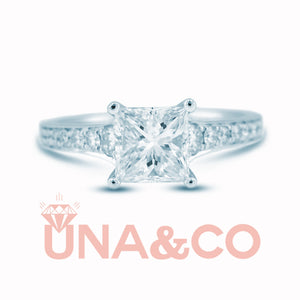 Princess Cut Solitaire CVD Diamond Ring