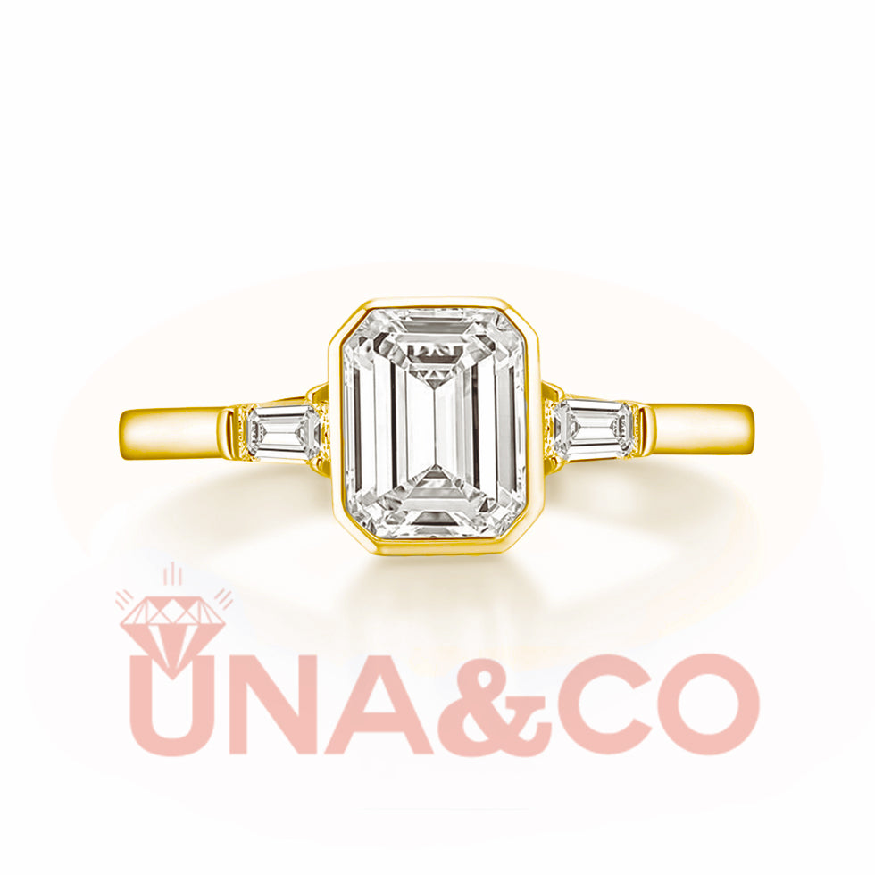 18K Yellow Gold 1.5CT Rectangular Emerald Cut Moissanite Ring
