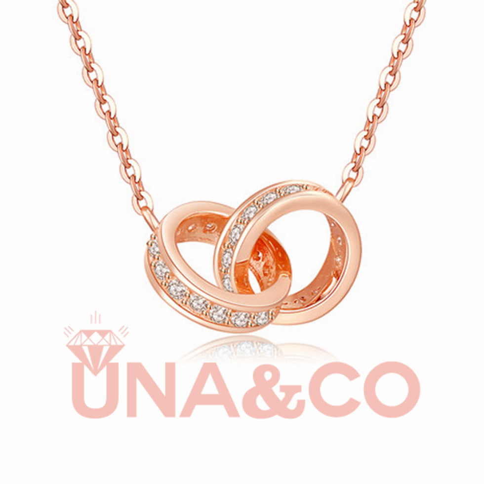 Heart to Heart Two Circle Set with CVD Diamond Necklace