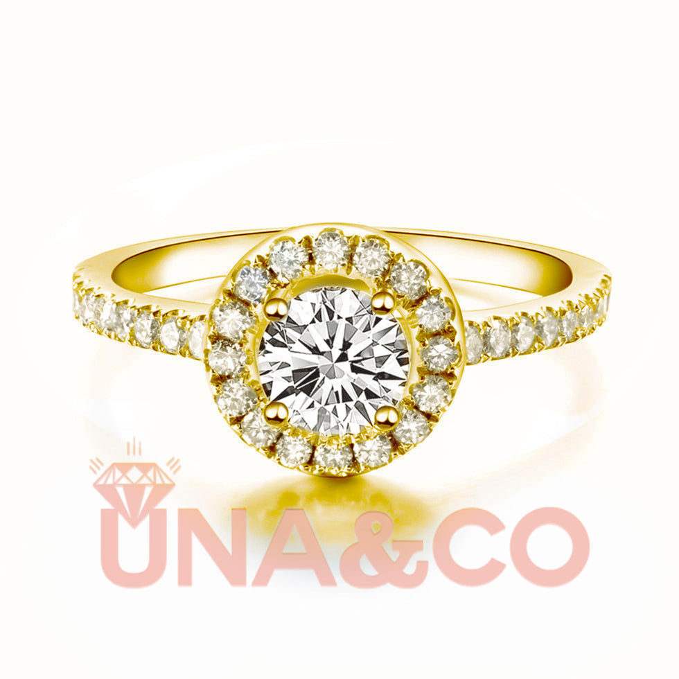 18K Yellow Gold Four Prong Round Moissanite Ring