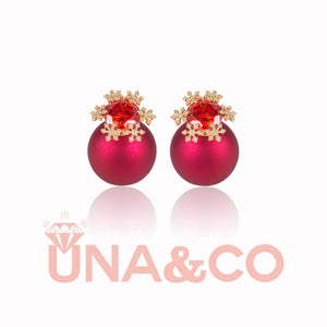 Christmas Snow Red Ball Detachable Earrings