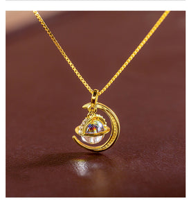 Special Designed Moon and Planet Shiny Necklace