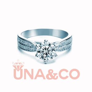 Six Prong Starry Sky Double Row Broken CVD Diamonds Ring