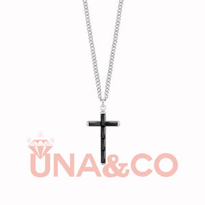 Simple Black Crystal Cross Necklace