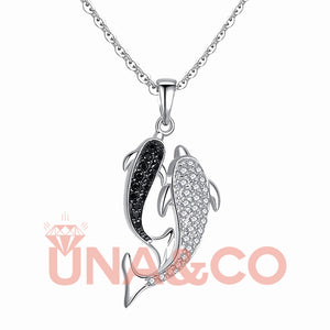 Double Dolphin Romantic  Necklace