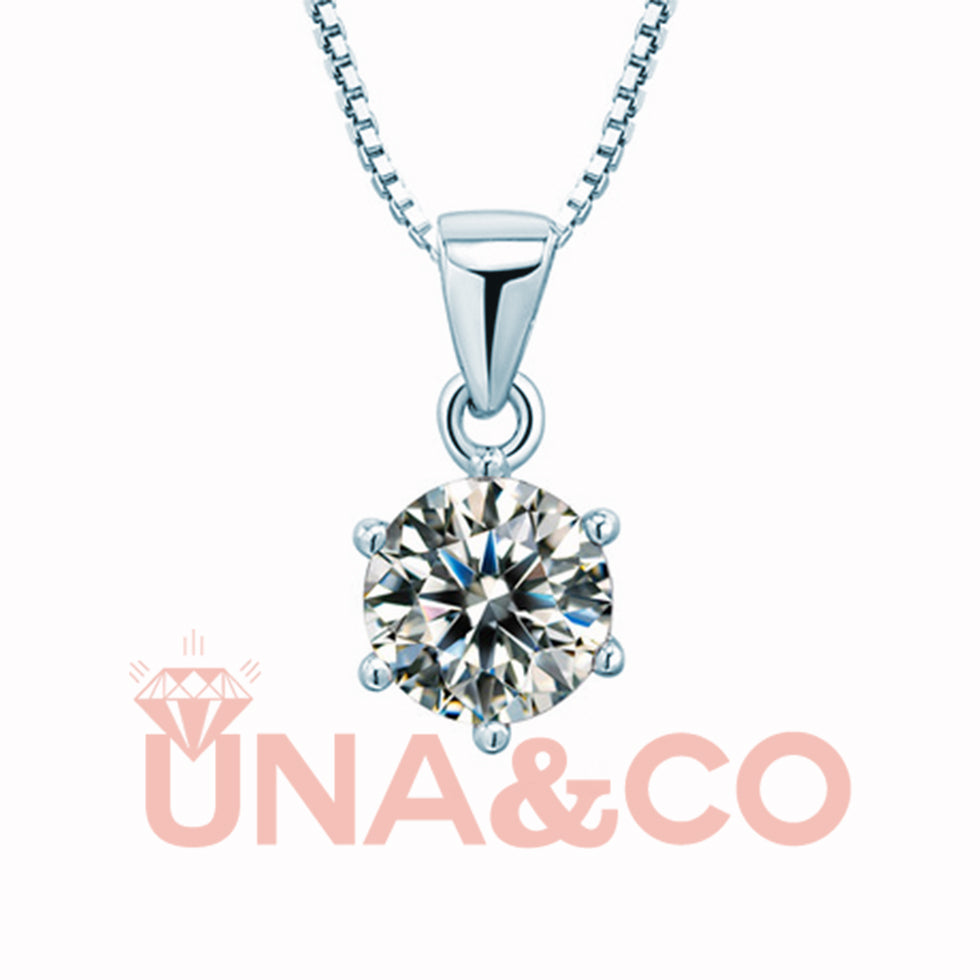 Classic Six Prong CVD Diamond Shiny Necklace