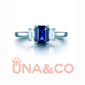 Emerald Cut Sapphire Three Stone Ring