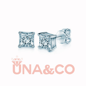 Princess Cut Shiny CVD Diamond Earrings