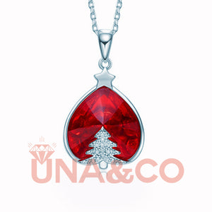 Romantic Christmas Tree Red Crystal Necklace