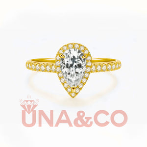 18K Yellow Gold Pear Cut Romantic 3Carats Moissanite Ring