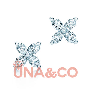 Four-petal Flower Diamond Earrings