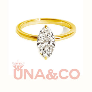 18K Yellow Gold Marquise Shaped Moissanite Engagement Ring