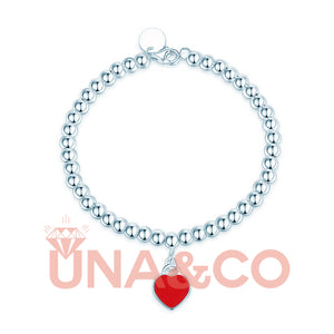 Heart-shaped Round Bead Bracelet